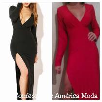 Vestido Con Abertura, Escote Y Gran Caída En Rojo Y Negro