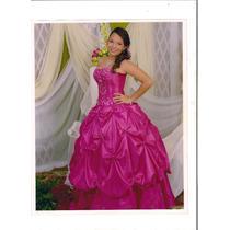 Vestido De Quince Años Color Fucsia Con Todos Sus Accesorios