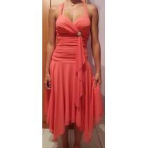 Vestido De Fiesta, Modelo 3/4, Color Coral, Usado