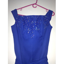 Vestido Largo De Fiesta Nuevo Talla 10 Tela Chiffon Azul Rey