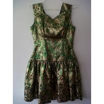 Vestido De Fiesta Para Mujer Dorado Con Verde