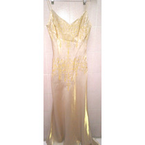 Vestido De Fiesta Importado Usado Color Dorado Talla M