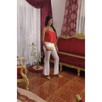 Pantalón Blanco Tejido Y Crop Top Rojo Ropa Casual