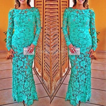 Vestido Largo De Encaje Turquesa Onlywomanshop