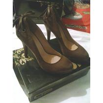 Zapatos Tacon Dama Color Marron Oscuro Talla 38