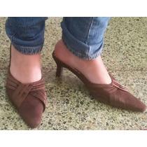 Zapatos Tipo Sueco Marrón Gamuzado Talla 36