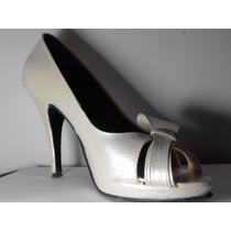 Zapatos Para Dama Tacon Medio Color Perla