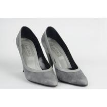 Zapatos Tacones Altos Color Gris Gamuza Talla 36 (poco Uso)
