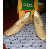 Zapatos Eva Dama / Mujer Tacón Bajo Beige Cuero Original T38