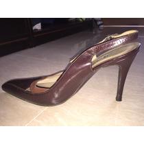 Zapatos Tacón Medio Totalmente De Cuero Marca Tulio Talla 39