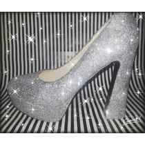 Zapatos Escarchados Dorado,plata,rosa Z Cerrado T Cuadrado