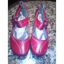 Zapatos Rojos Talla 37 Tacón Bajo. Cuero. Suaves