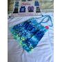 Camiseta Halter Justice De Flores Azules. Talla 10