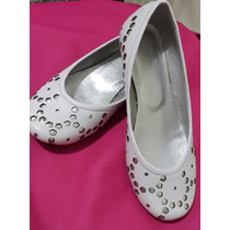 Zapatos Para Niña Numero 30 Color Blanco Con Plateado.