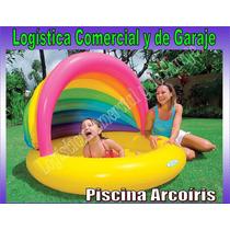 Piscina Inflable Arcoiris Con Parasol 155x135x104 Cm Intex