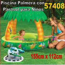 Piscina Inflable Palmera Con Parasol / Techo 155x112cm 57408