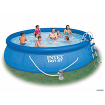 Piscina Inflable Intex 457x91cm + Filtro + Tapa + Piso