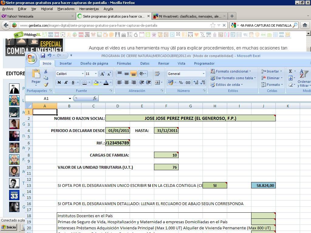 Plantilla Declaracion Islr Persona Natural Excel Lvbp13