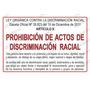 Aviso Letrero Señal Cartel Prohibido Discriminación Racial