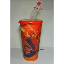Vasos Spiderman, Princesas, Dora Con Tapa Y Pitillo Cotillón