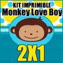 Kit Imprimible Monkey Love Boy 1er Año Kit Para Niño 2x1