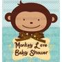 Kit Imprimible Monkey Love Baby Shower 2x1 Niño O Niña