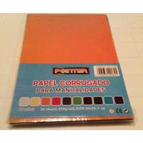 Cartulina Corrugada 10 Hojas De Diferentes Colores