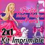 Kit Imprimible Barbie Moda Magica En Paris 2x1