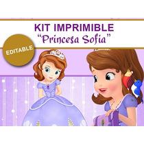 Kit Imprimible Princesa Sofia De Disney Tarjetas Cotillon