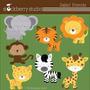 Kit Imprimible Animalitos Safari 5 Imagenes Clipart