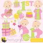Kit Imprimible Baby Shower Nena 3 Imagenes Clipart