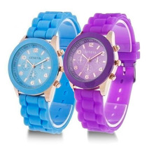 Reloj Geneva Modelo Silicon Colores Pulsera Originales Damas