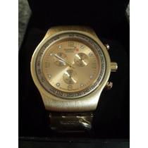 Espectacular Reloj Swatch Dorado Unisex En Caja