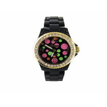 Reloj Geneva Negro Brillante Brazalete Plastico Metal Swatch