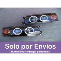 Faros Focos Nissan Sentra B13 Ojos De Angel Negros - El Par