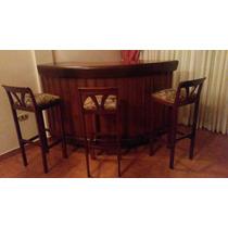 Mueble Tipo Bar, Con Tres Banquitos