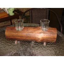 Rola De Madera Con 2 Vidrios Y 2 Velas