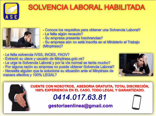 Solvencia Laboral, Inces, Faov. Ivss, Inscripcion 100% Legal