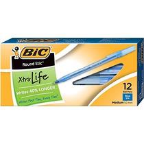 Caja Bolígrafos Azul Bic Medianos 12 Unid 1 Mm Extra Life