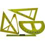 Juego De Geometria Plastico Para Dibujantes Y Arquitectos.-