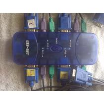 Switch Kvm Ps2 4 Puertos Teclado Mouse Video Cables Vga Loge