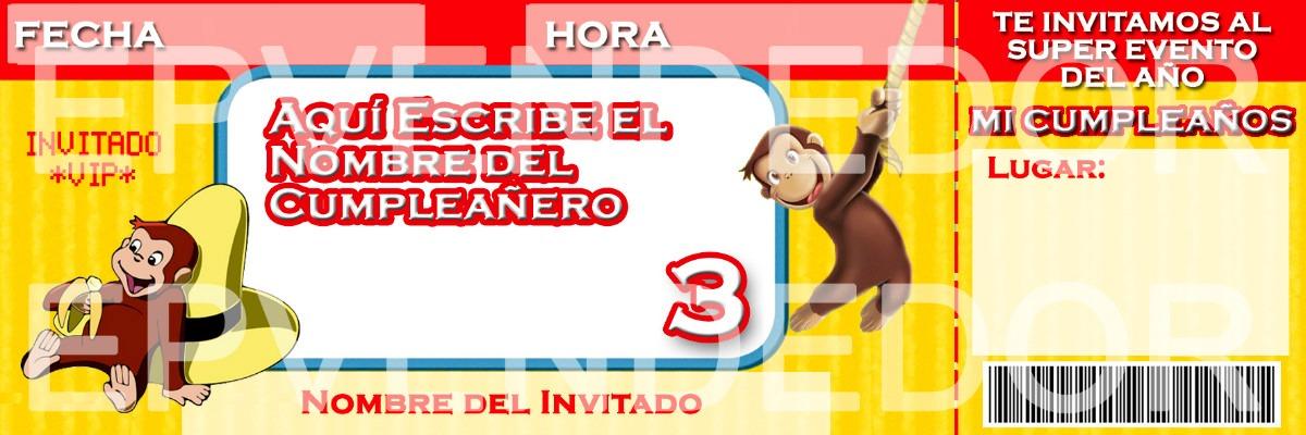 Tarjetas De Invitacion Jorge El Curioso Invitaciones Epv Bs 52,00 en MercadoLibre