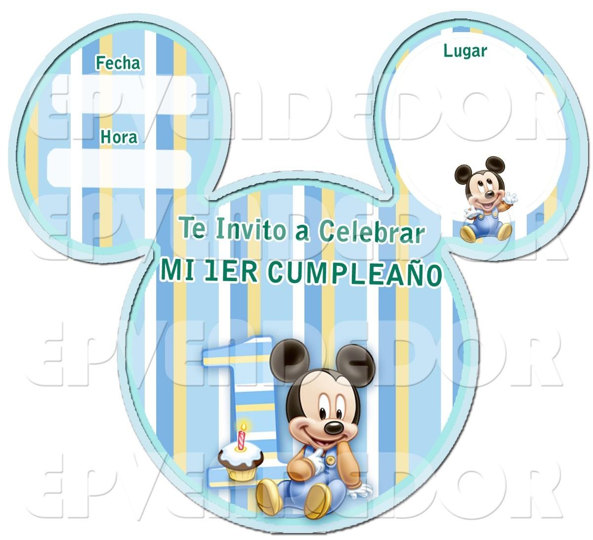 Mickey Bebé 1 Año Invitaciónes Imagui
