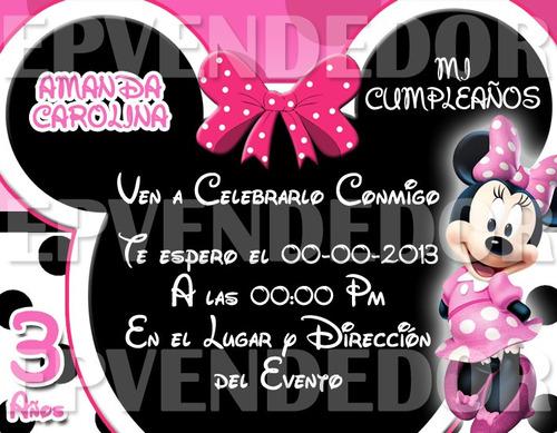Tarjetas de invitación de Minnie Mouse - Imagui