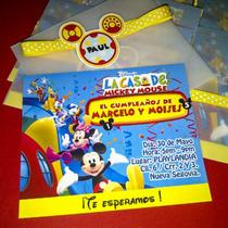 La Casa De Mickey Mouse - 12 Invitaciones Personalizadas