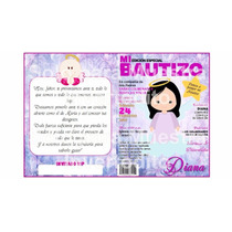 Tarjeta Invitación Infantil Revista Bautizo Grande Opalina