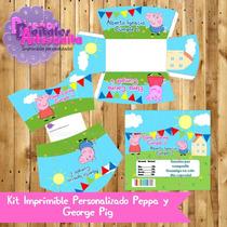 Kit Imprimible Personalizado Peppa Y George Pig