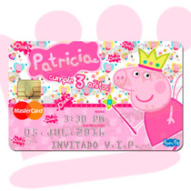 Invitaciones Tarjeta De Crédito Pvc La Cochinita Peppa Pig