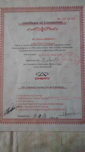 Tecnico Certificado Chery.