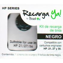 Kit De Recarga Cartuchos Hp 21,27 Y 56 Negro